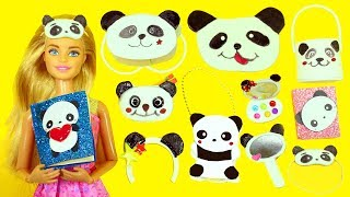 10 DIY MINIATURE PANDA BEAR  Barbie DOLL CRAFTS  & Accessories   - simplekidscrafts