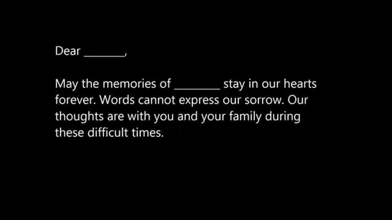Sample Sympathy Letters YouTube – Sample of Sympathy Letter