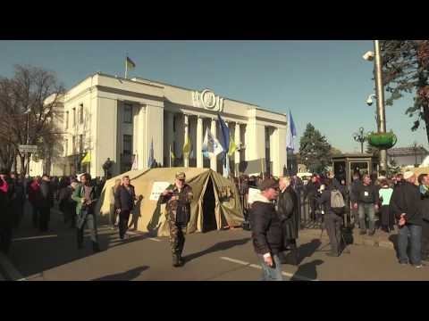 Ukraine Protesters Set Up Tent Camp Outside Parliament