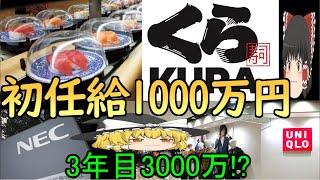 【ゆっくり解説】くら寿司の初任給1000万円、ユニクロの3年目年収3000万円...今の日系有名企業の採用方針とは!?