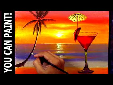 How to Paint Red Wine in Glass on Tropical Sunset Beach in Acrylic