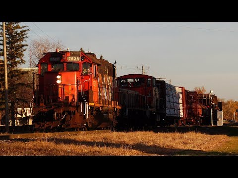 Local Winnipeg Freight Trains w/ Big Bridge and Old EMD Power (10/20/2017)