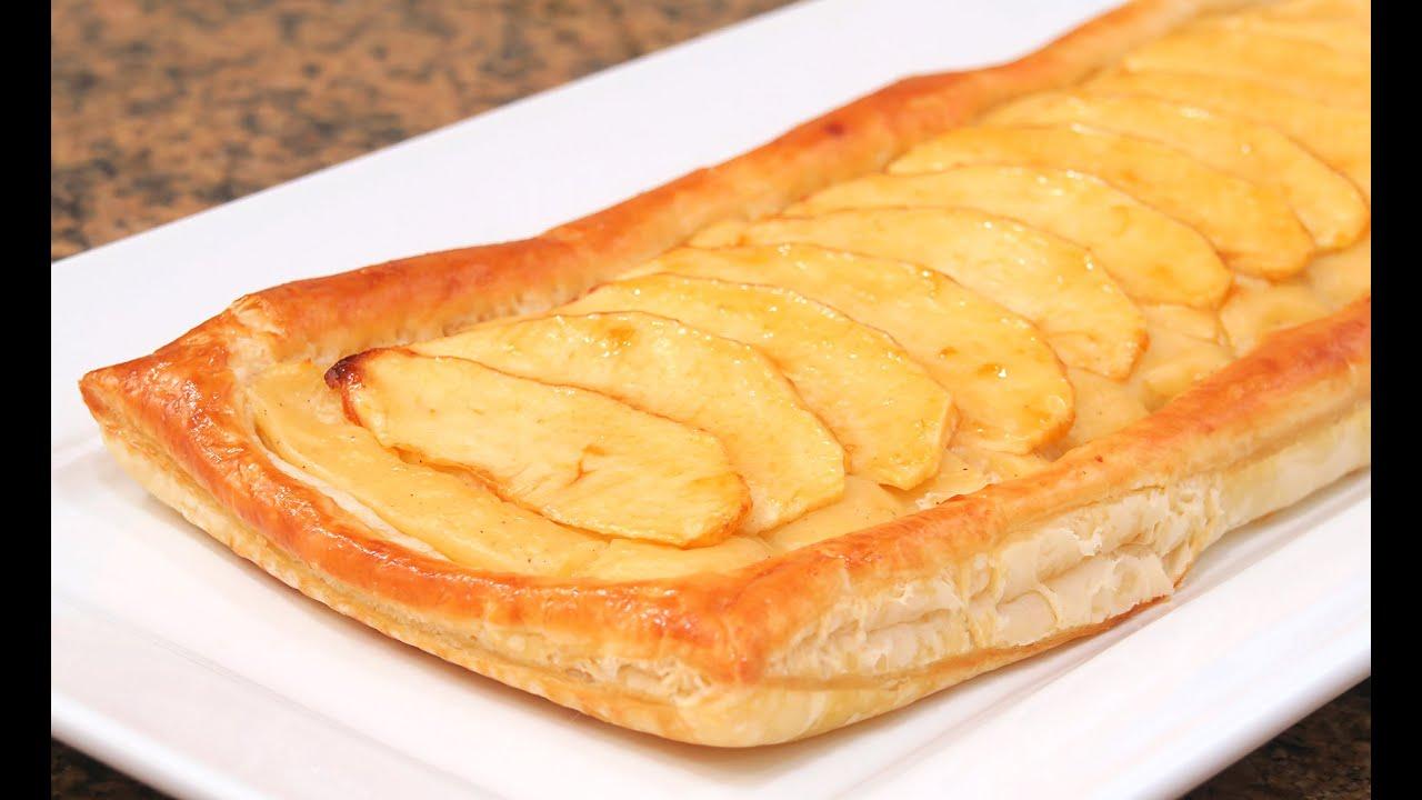 Tarta de manzana con crema y hojaldre f cil y r pida - Pure de castanas y manzana ...