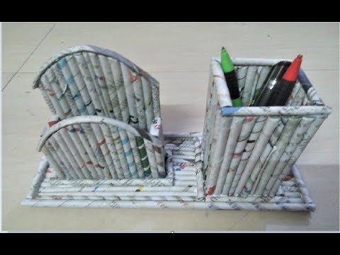 Diy How To Make Pen Stand And Mobile Stand Using News