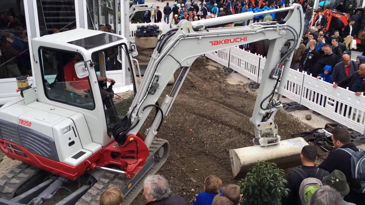 Takeuchi TB250 Excavator With Attachments Show - Bauma 2016