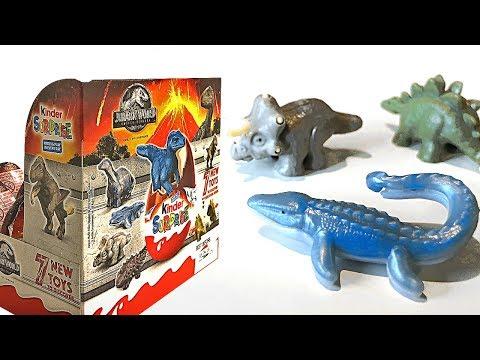 Hatching 12 Jurassic World Dinosaur Egg Surprise Toys For Kids - Mosasaurus Velociraptor