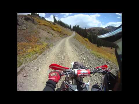 dirt biking on engineer pass in Ouray Colorado