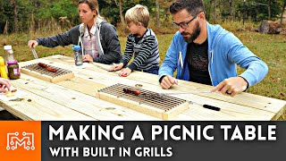 Making Picnic Tables with Built In Grills // Woodworking & Outdoors