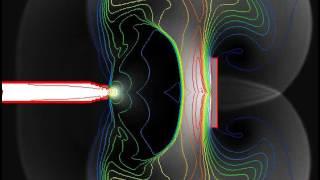 Компьютерное моделирование сверхзвукового истечения газа (поле давления и температуры)