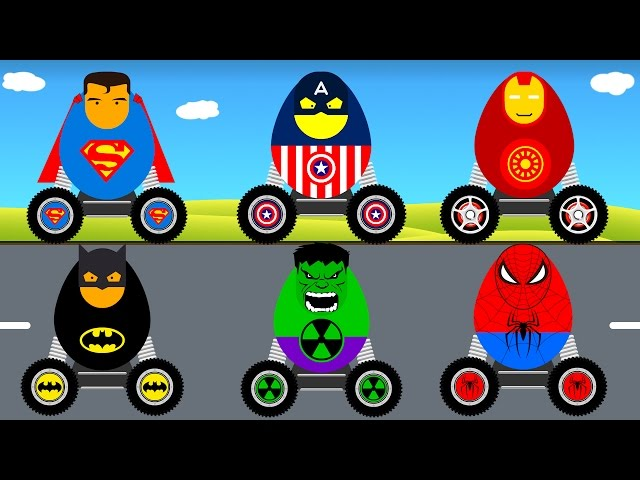 SURPRISE EGGS for Kids & Batman Superman Spiderman Cars Cartoon for Toddlers w Colors for Children