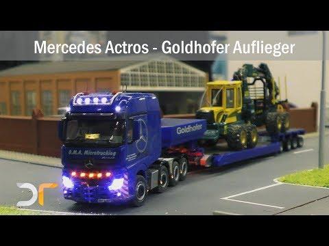 Schwertransport - Mercedes Actros - Goldhofer - Forstmaschinentransport - Forwarder | RC 1:87