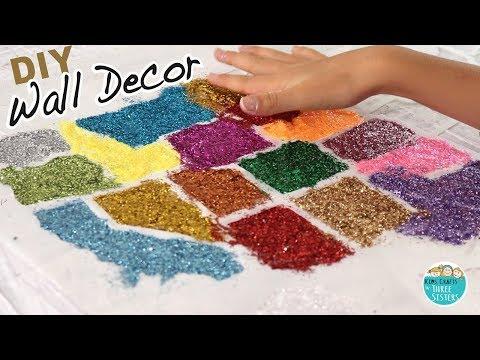 DIY Room Decor | Mixed Media Wall Art with Glitter & Newspaper