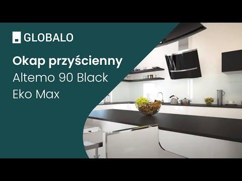 Okap przyścienny GLOBALO Altemo 90.2 Black Eko Max | Ciche i wydajne okapy GLOBALO