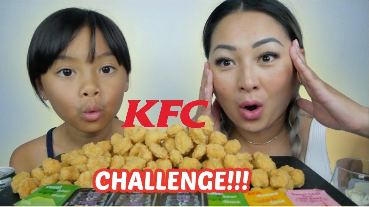 KFC Popcorn CHICKEN Challenge Mukbang | N.E Let's Eat