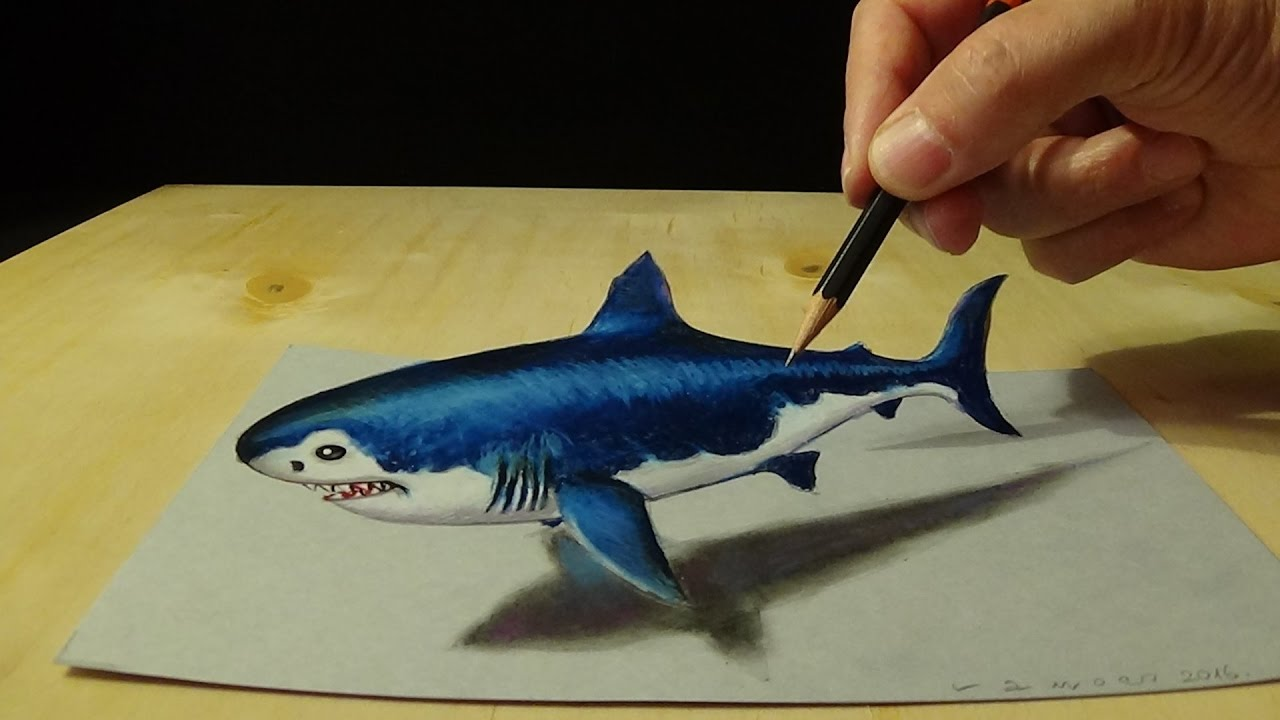 Drawing 3D Shark - How to Draw 3D Megalodon Shark - Awesome Trick Art - YouTube