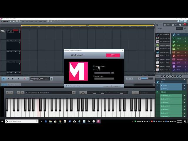 Setting up a USB midi keyboard in Magix Music Maker