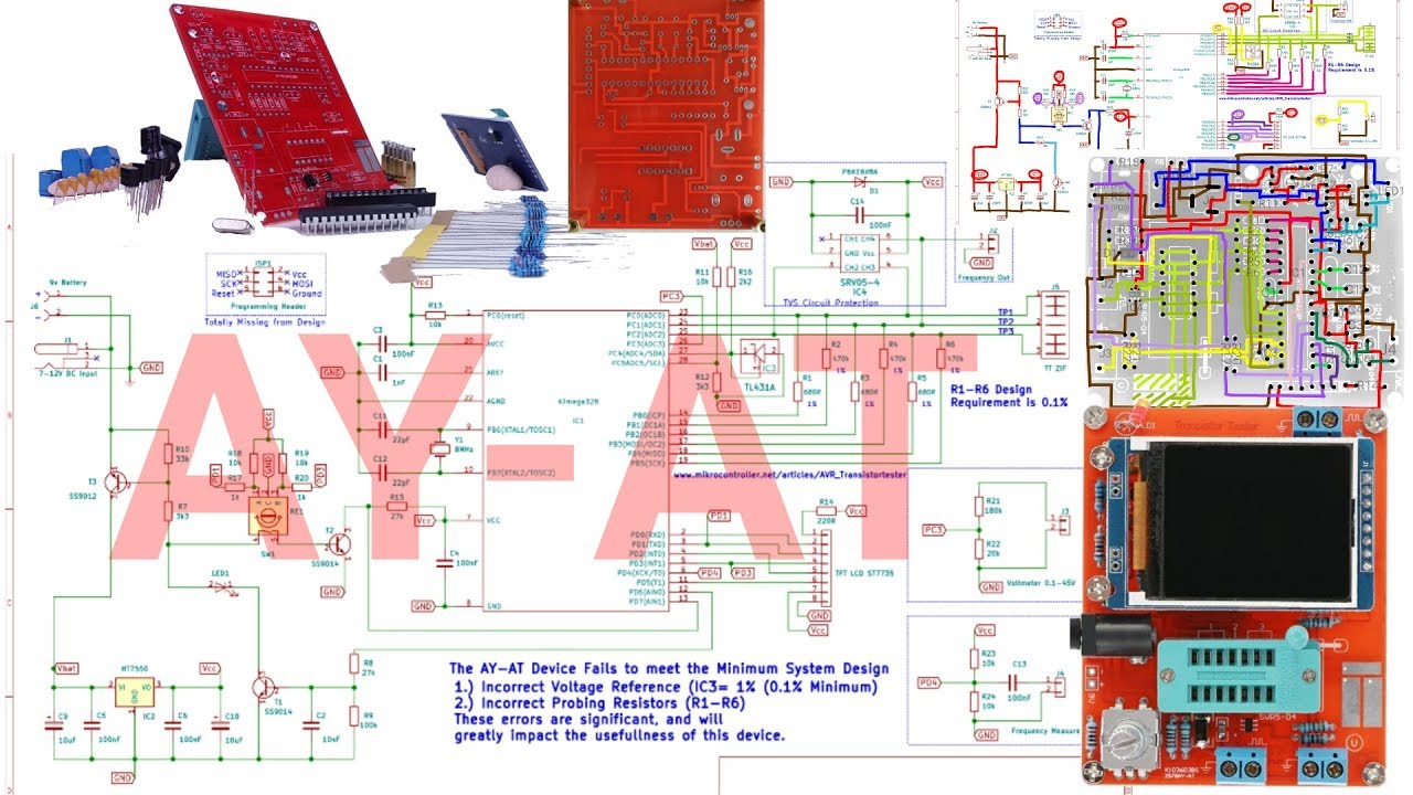AY-AT Clone AVR Transistor Tester Schematic Trace Checked and ...