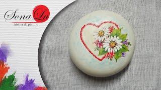 Coração com Flores em Sabonete por Sonalupinturas