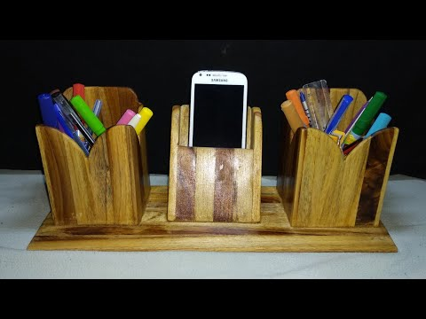 Homemade pen stand and mobile phone holder with wooden stick