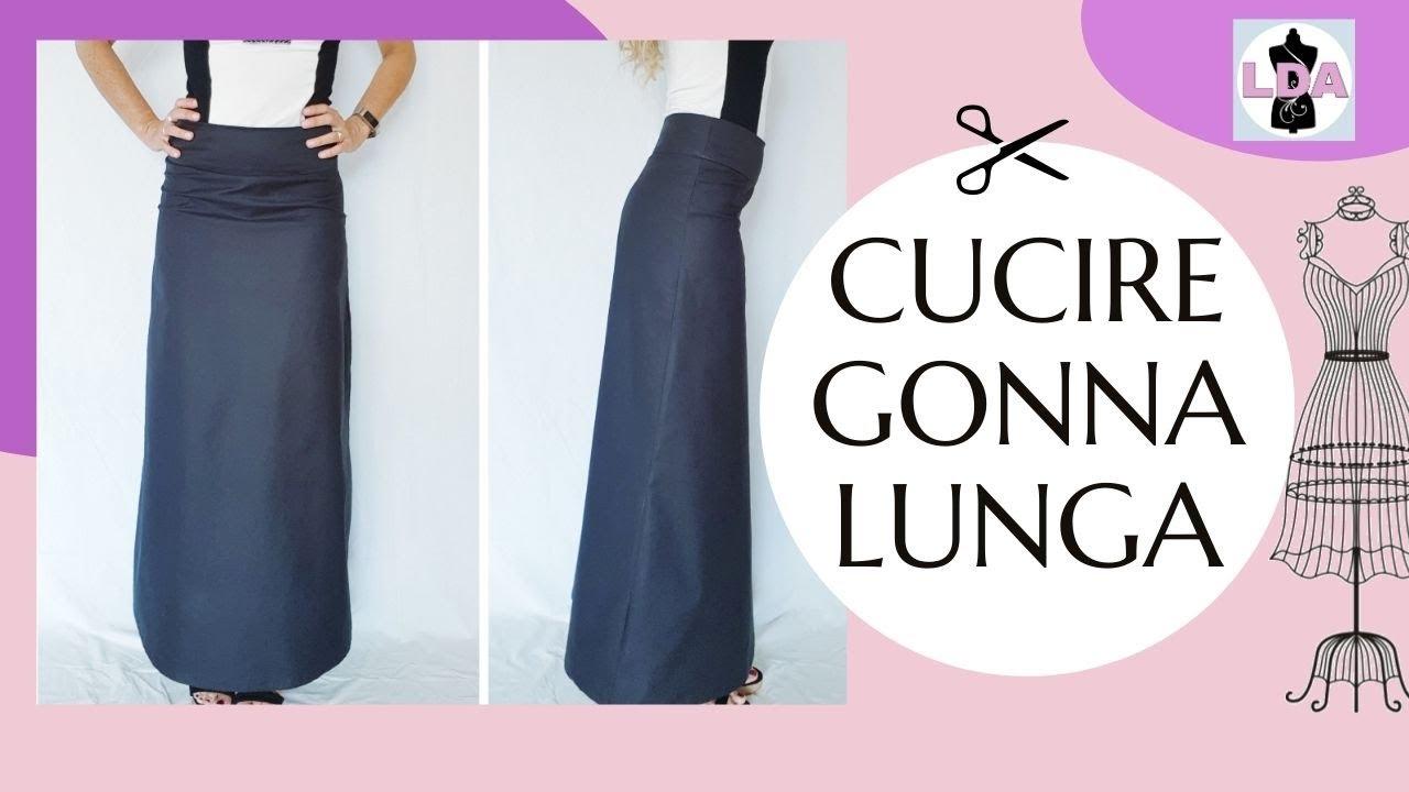 in vendita 9c904 e687d Long skirt DIY Senza Cartamodello | Gonna lunga svasata🧡EN SUB
