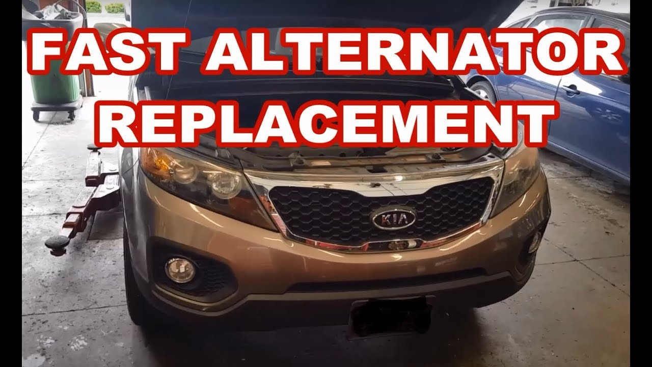 kia sorento santa fe 2 4l alternator replacement how to remove replace [ 1280 x 720 Pixel ]