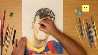 Drawing Barcelona player Neymar da Silva