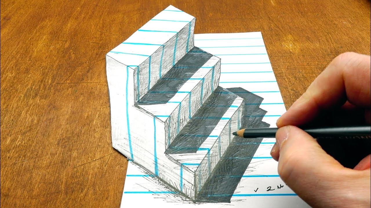 Drawing  3D Stairs on Line Paper - Staircase Trick Art - By Vamos