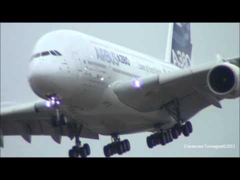 Airbus А380 Взлет полет посадка МАКС 2011 21.08.2011. - FULL HD -