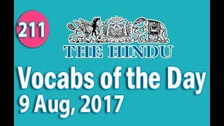 ✅ Daily The Hindu  Vocabulary (9 Aug, 2017) - Learn 10 New Words with Tricks | Day-211