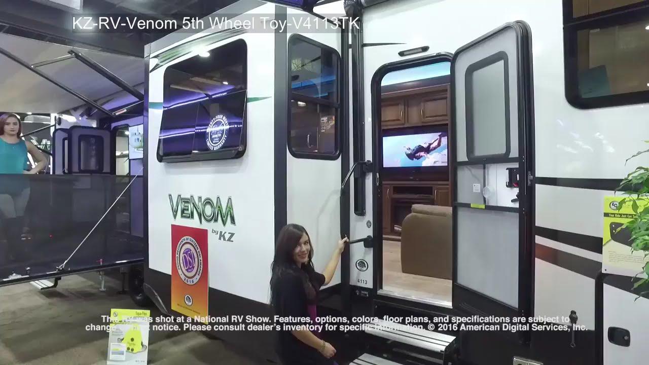 new 2018 kz venom v4113tk toy hauler fifth wheel at parkview rv smyrna de 4113 [ 1280 x 720 Pixel ]