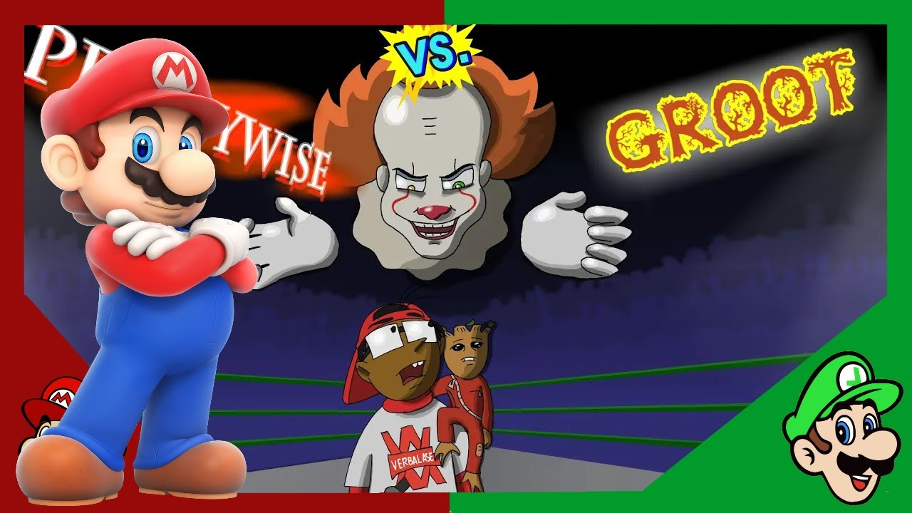 Cute Vs Scary | Mario Reacts To Pennywise Vs Groot - Cartoon Beatbox Battles