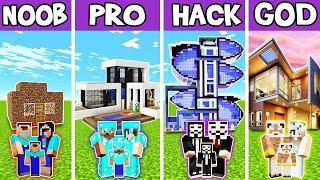 Minecraft: FAMILY SMART HOUSE BUILD CHALLENGE - NOOB vs PRO vs HACKER vs GOD in Minecraft