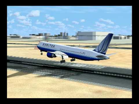Microsoft Flight Simulator X United 767 Landing at Lax