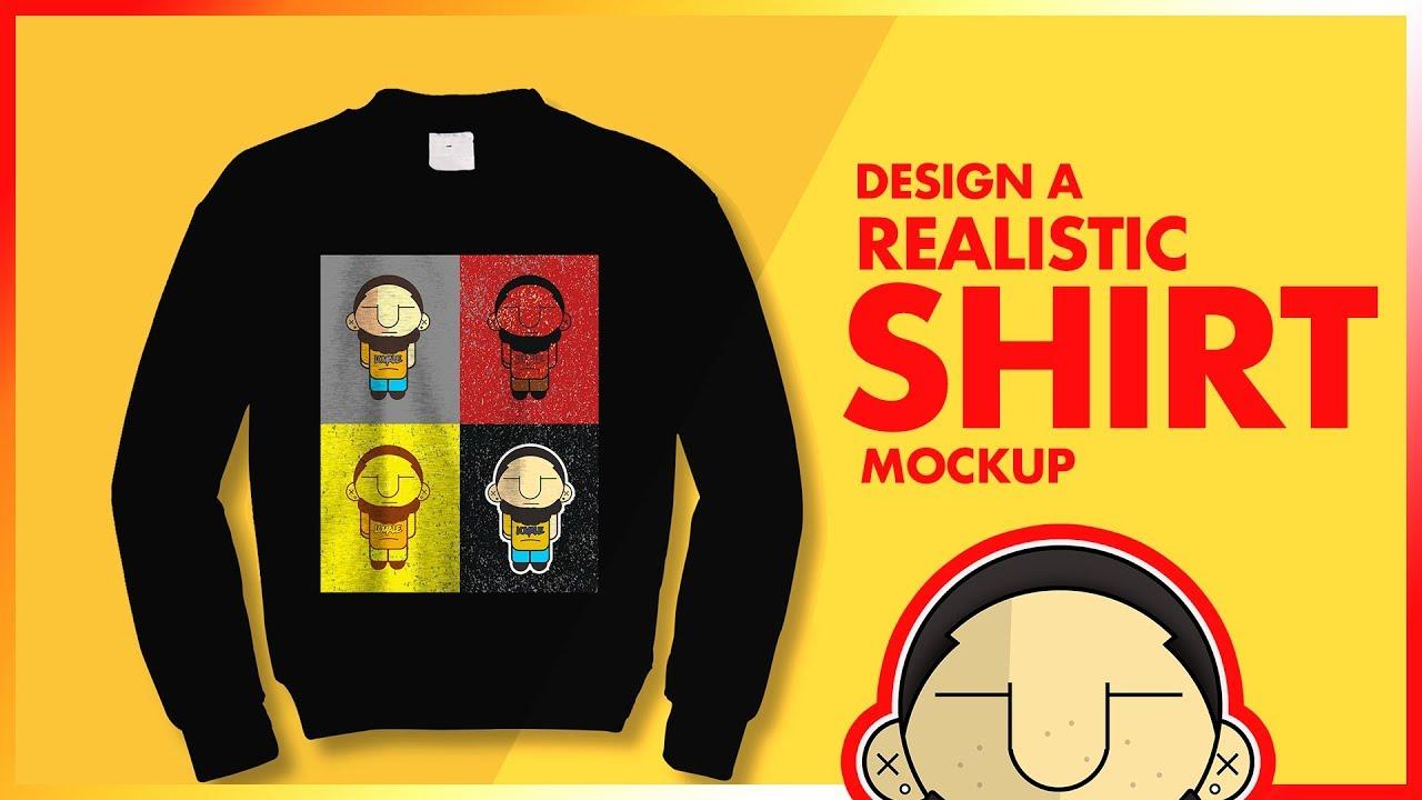 photoshop tutorial realistic long sleeve shirt mockup design