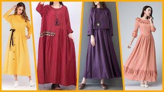 Linen long maxi dresses /Semi Fitted comfortable casual dresses