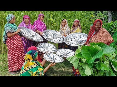 Huge Expensive Hilsa Fish Curry Cooking For Whole Village People - Rice Serve With Vegetable Curry