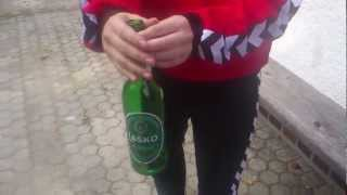How to break the bottom of a beer bottle with  two coins :)