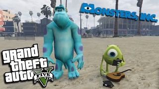 GTA 5 Mods - MONSTERS INC w/ SULLY & MIKE (GTA 5 PC Mods Gameplay)