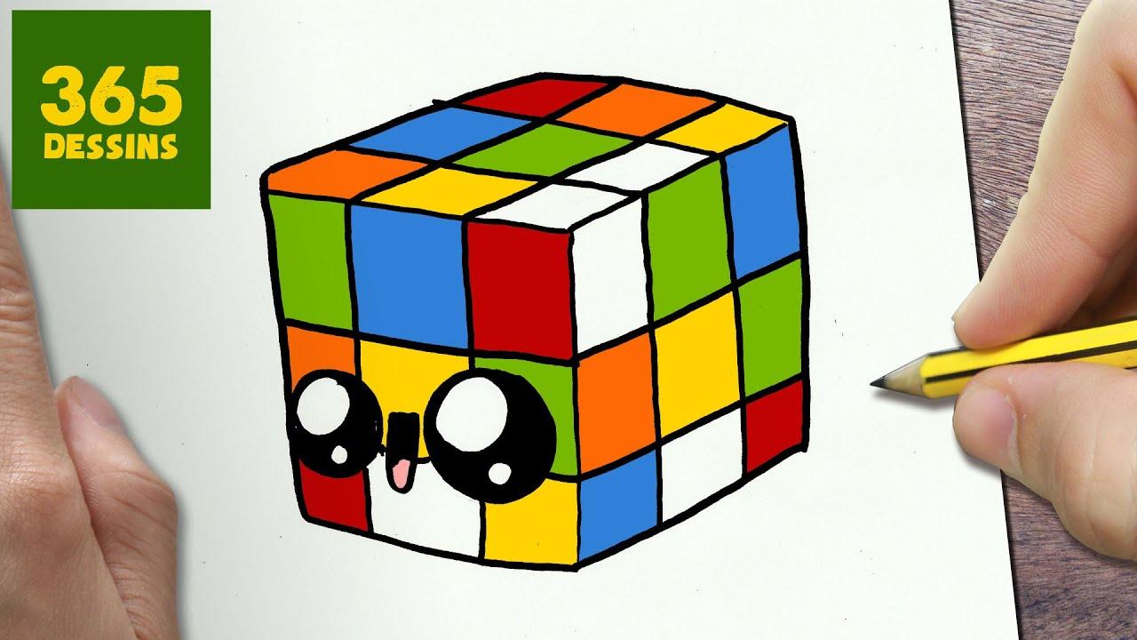 Comment Dessiner Cube De Rubik Kawaii étape Par étape Dessins Kawaii Facile