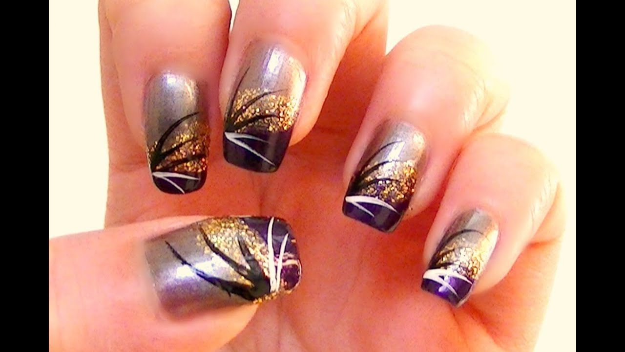- Summer Glam Nail Art With Gold And Purple Tutorial - YouTube