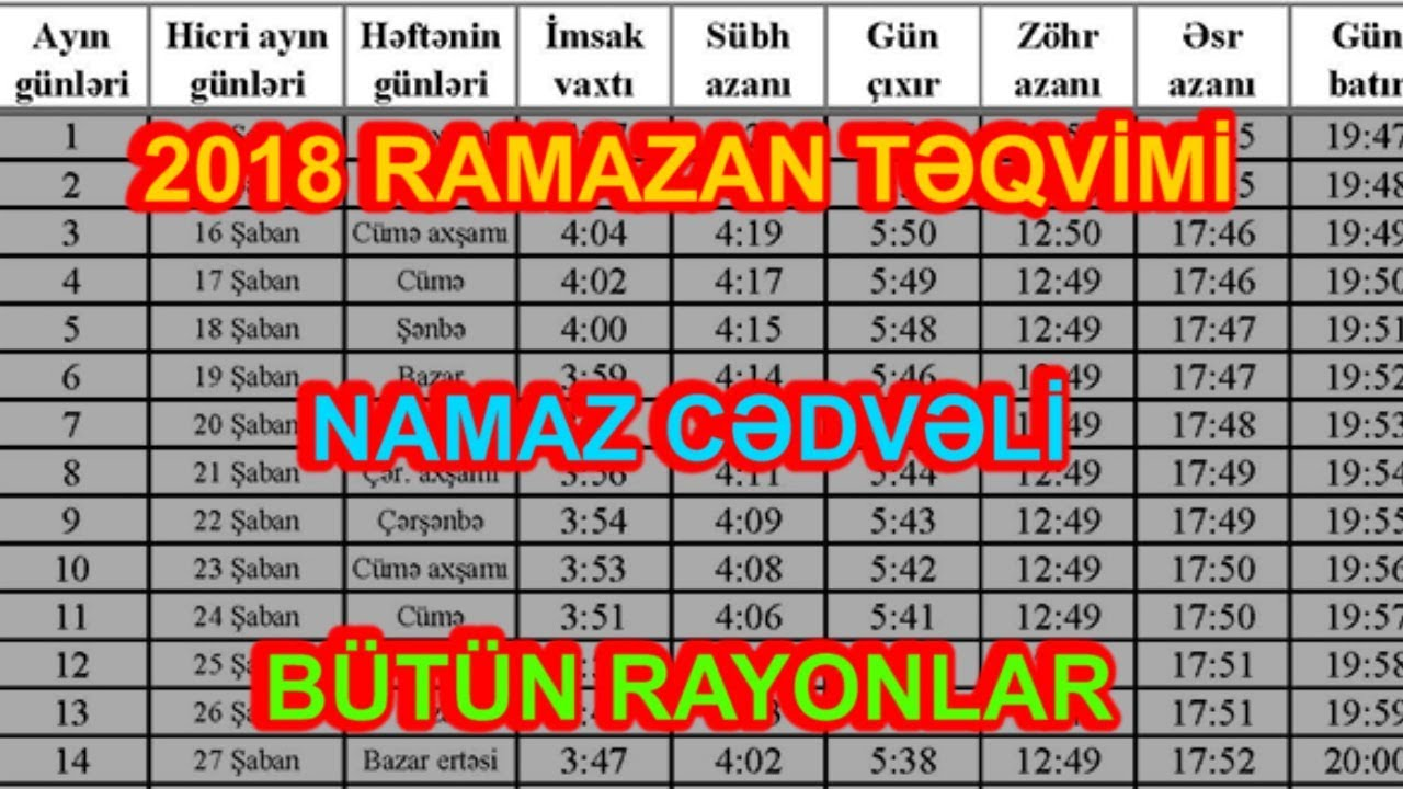 2018 May Ayi Ramazan Təqvimi Və Namaz Vaxtlari Youtube