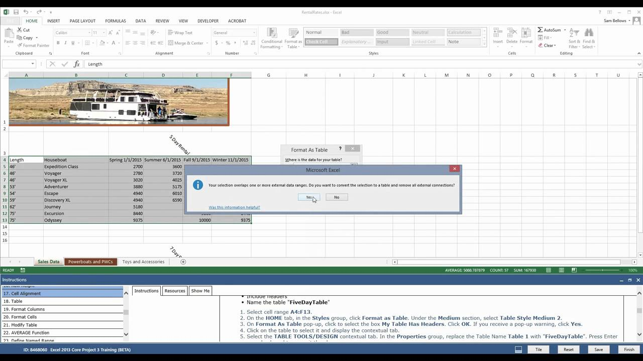 MOS Excel 2013 Project 3