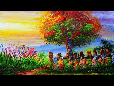Basic Acrylic Painting Lesson Landscape During Sunset and Tree with Fence | BASIC PAINTING TUTORIALS