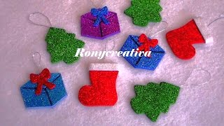 Adornos para el árbol de Navidad hechos con foamy o goma eva muy fácil