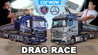 Mercedes Actros vs Scania R500 - DRAG RACE  & 44 Ton BRAKE TEST!