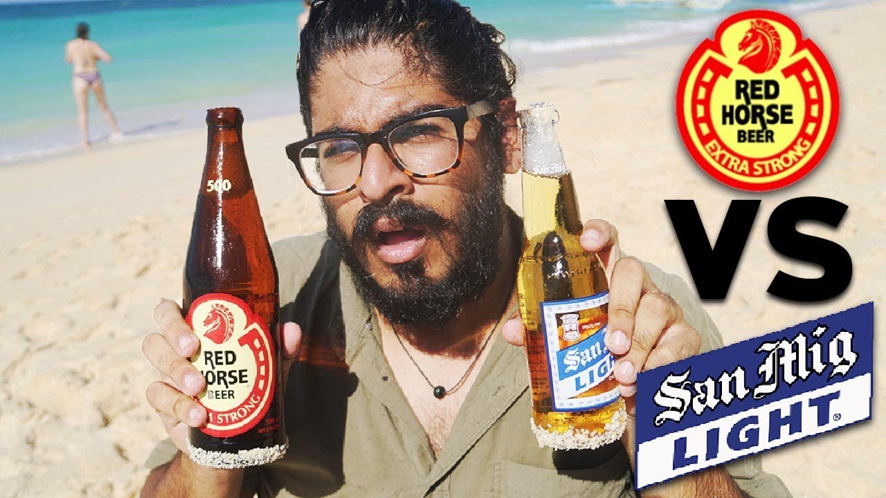 Filipino Beer Red Horse Vs San Miguel Beer Taste Test Puka Shell Beach Boracay Youtube