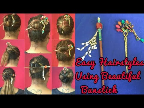 9 BUN STICK Hairstyles | Everyday bun hairstyles for Office / College | 1 MINUTE BUNS