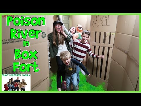 Poison River In Huge Box Fort Maze! / That YouTub3 Family