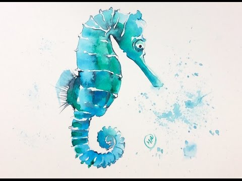Watercolor Seahorse Painting Demonstration Youtube