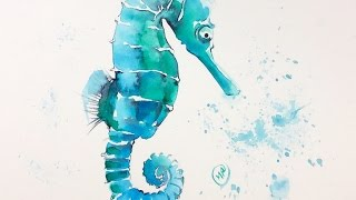 Watercolor Seahorse Painting Demonstration
